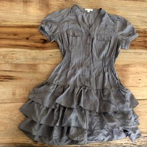 Dresses & Skirts - Gray ruffle dress with cap sleeve